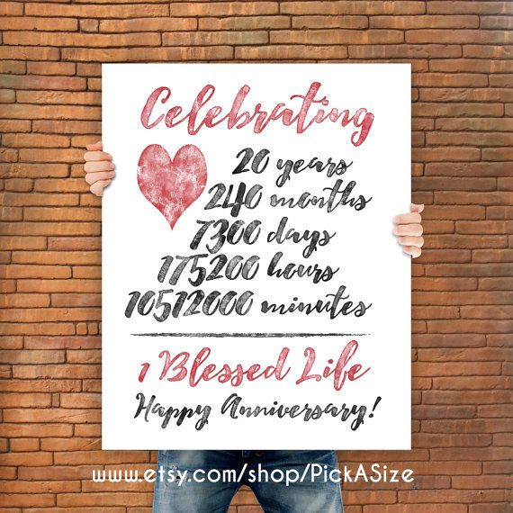 Anniversary 20 Year Gift Print Wedding Poster Important Stats Family Tree Marriage Art Modern