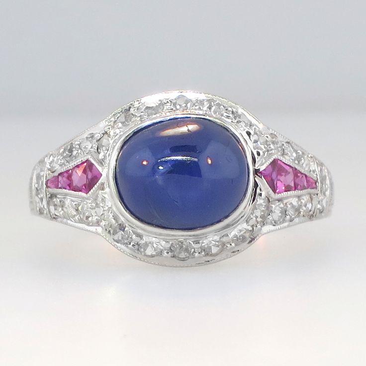 Rare Original Authentic Art Deco Cabochon Sapphire Ruby