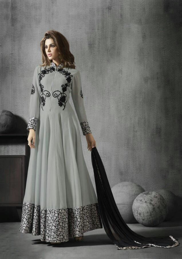 Gray With Black Embroidered Indian Salwar Kameez Designs #indianweddingdresses