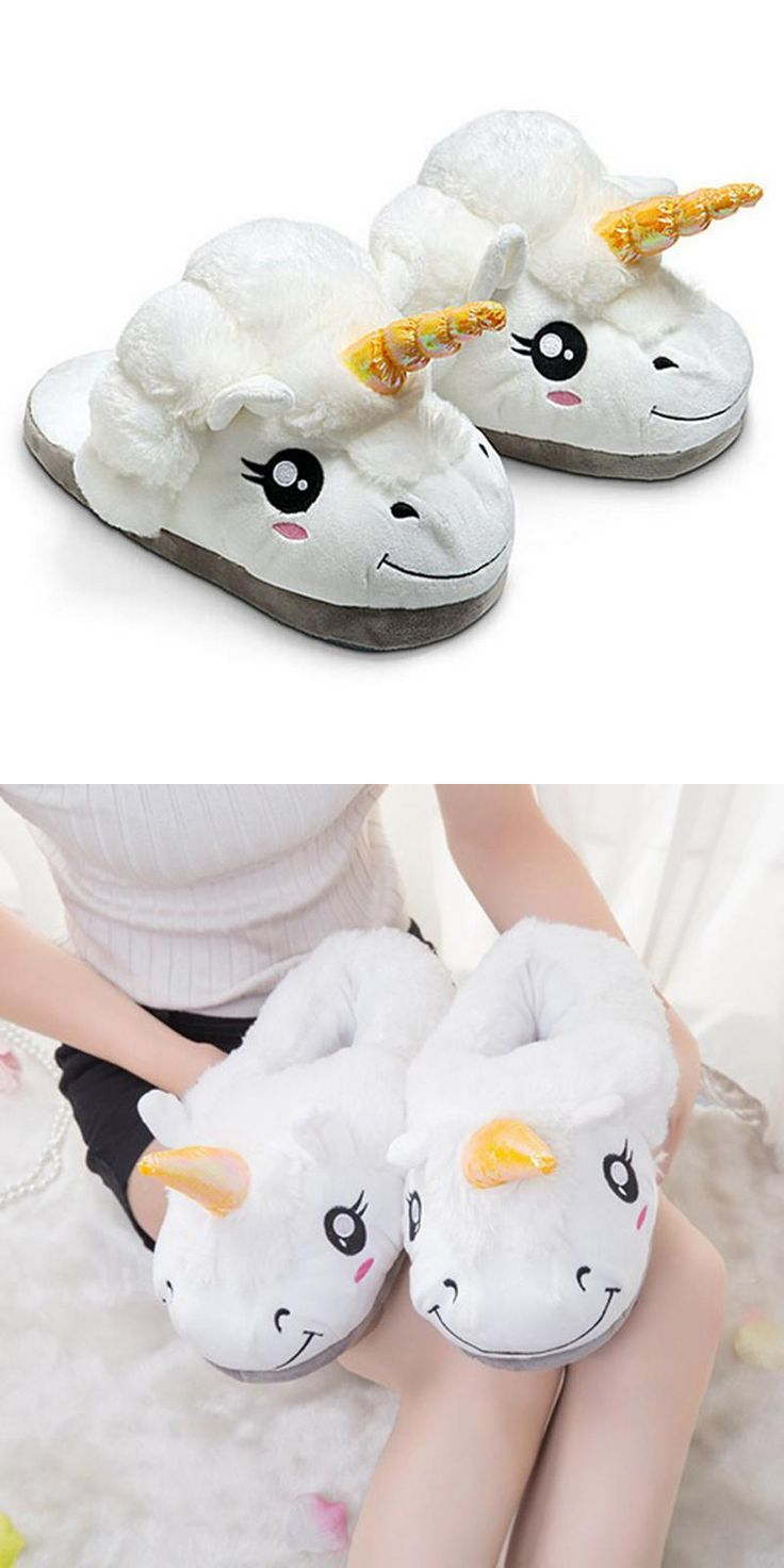 [Visit to Buy] Winter Plush Unicorn Slippers Cute Funny Men Adult Slippers Women Home Shoes Warm Cotton With Heel Pantufas Zapatillas Unicornio #Advertisement