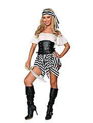 Cosplay Kostumer / Party-kostyme Pirat Halloween Kostumer Svart Lapper Kjole / Hodeplagg / T-Rygg Halloween / Karneval / Nytt År Kvinnelig