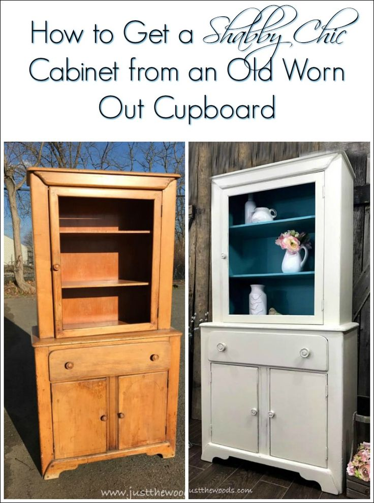 A vintage cupboard with damage and grease has been cleaning up and transformed into a painted shabby chic cabinet with a pop of color inside. Off white, distressed and tiffany blue give this old piece of furniture a whole new look.