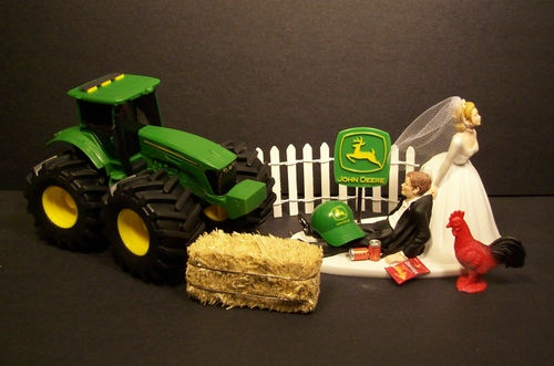 No Farming John Deere Tractor Bride Groom Wedding Cake Topper Funny Grooms Cake | eBay $89.99 + $8.80 shipping = $98.79