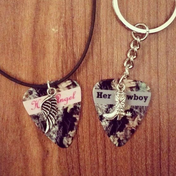 Her Cowboy boot His Angel wing charm guitar pick necklace keychain set by Featherpick