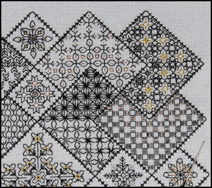 Save the Stitches Free project  Block 3 embroidered - download the PDF from www.blackworkjourney.co.uk