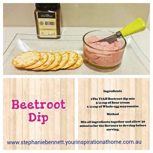 A simple 3 ingredient Beetroot dip that that everyone is sure to love. You can order the YIAH Beetroot mix online at my web site www.stephaniebennett.yourinspirationathome.com.au Enjoy.