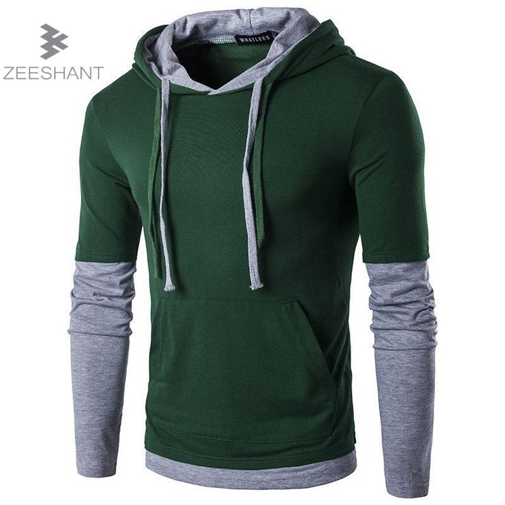 Fake Two Pieces Casual Hoodies Men 2017 Spring Mens Hoodies Sweatshirts Cotton Slim Boys Hooded Jackets Men Coat Polo Jersey