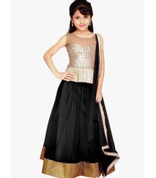Buy Black Net plain kids lehenga-choli kids-lehenga-choli online