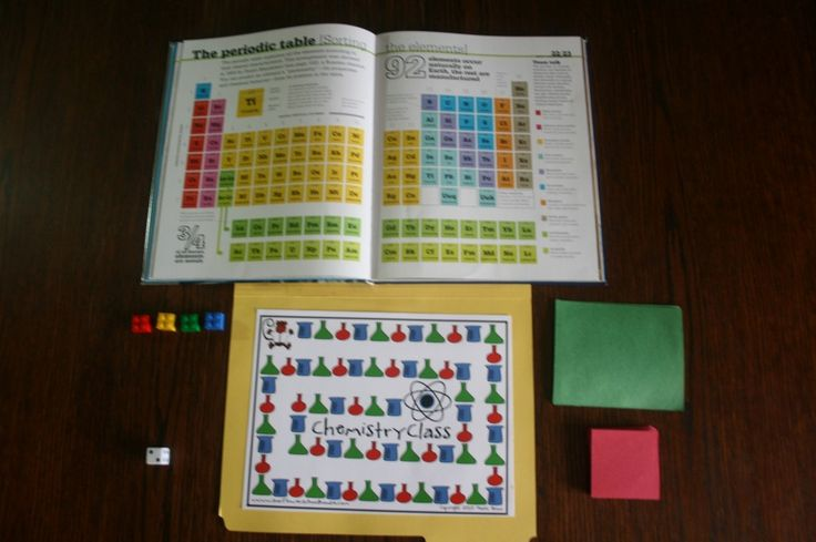 A Chemistry game, which is made in a file folder, helps kids understand the basics of the periodic table. W13-18