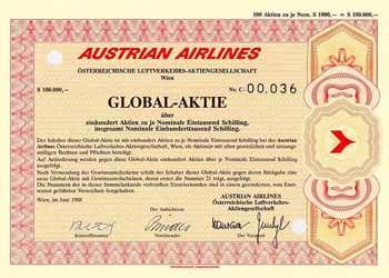 AUSTRIAN AIRLINES Österreichische Luftverkehrs-AG Globalaktie 100 x 1.000 S Juni 1988