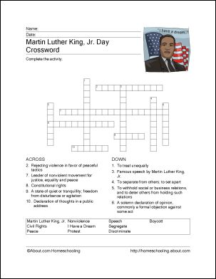 8 Printout Activities for Martin Luther King Day: Martin Luther King, Jr. Crossword Puzzle
