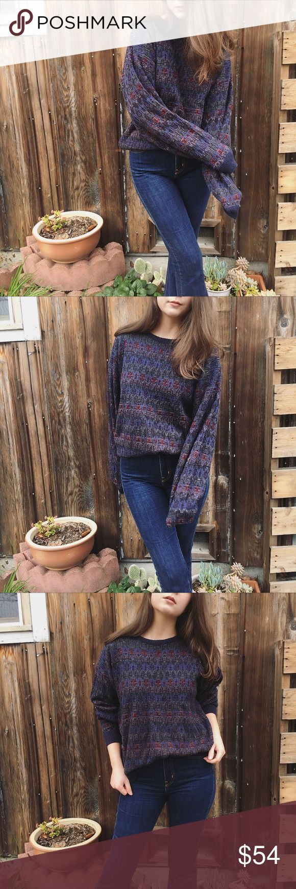 """Vintage Chunky Knit oversized boyfriend sweater Vintage Chunky Knit oversized boyfriend sweater.   Men's/Women's   Gorgeous jewel tones!  Slouchy and Comfy!  So good I almost kept it 😘  Size on tag is L, but can fit XS, S, M, or L Depending on desired fit. Shown on a size small for reference.  Great preowned condition. Some light wear. See photos.   Measurements: Bust:  44"""" Shoulder width:  23"""" Sleeve length:  23"""" Total length:  25""""  Please feel free to ask questions in the comments ⬇️…"""