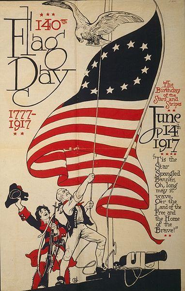 Cartel con la 1ra bandera de USA.