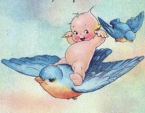 Cupie Doll on a Bluebird
