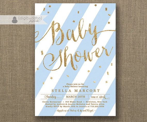 blue u0026 gold baby shower invitation baby boy light blue stripes and gold glitter script confetti
