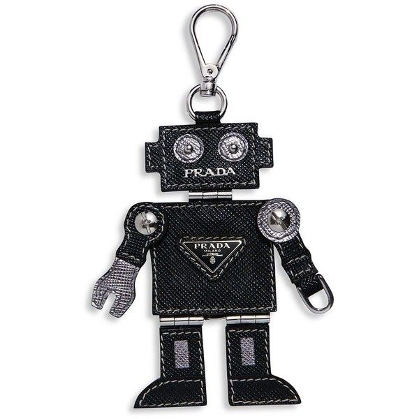 Prada Vlad Saffiano Leather Robot Keychain (4.073.275 IDR) ❤ liked on Polyvore featuring accessories, apparel & accessories, black, prada, prada key chain and fob key chain