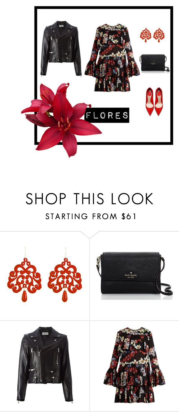 """Flower pants"" by natyapshopper on Polyvore featuring moda, Tità Bijoux, Kate Spade, Yves Saint Laurent y MSGM"