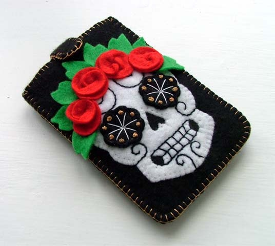 Felt Phone Case Sugar Skull Tattoo Design by TheDollCityRocker, $25.00