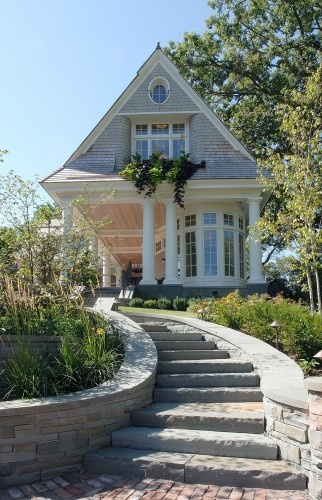 How charming is this?: Stones Step, Stairs, Cottage, Traditional Exterior, Curb Appeal, House, Porches, Bays Window, Window Boxes