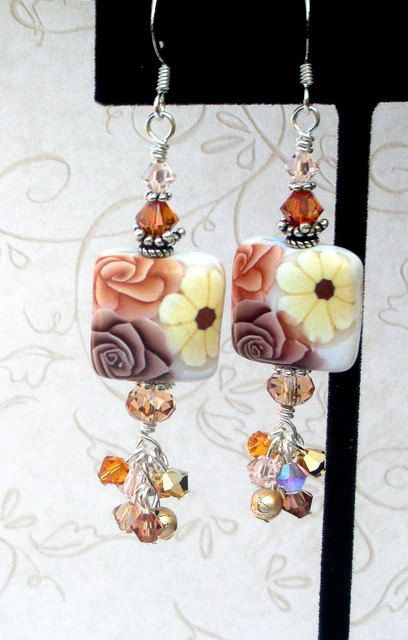 NICE COLORS!!   Coffee and cream earrings polymer clay Swarovski by Mindielee, $28.00