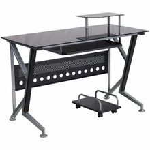 Flash Furniture Black Glass Computer Desk with Keyboard Platform and CPU Cart - $159.99 at OfficeAnything.com