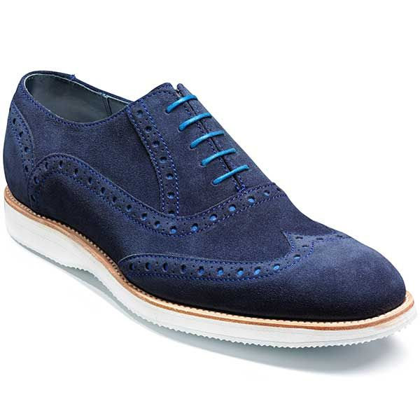 Barker Shoes  Avenger White Sole Brogue  Navy Suede  Size: 10 5F