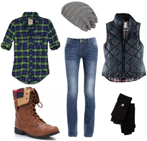 Outdoorsy- cute and casual. Waiting for warmer weather :) --I'd skip the vest tho