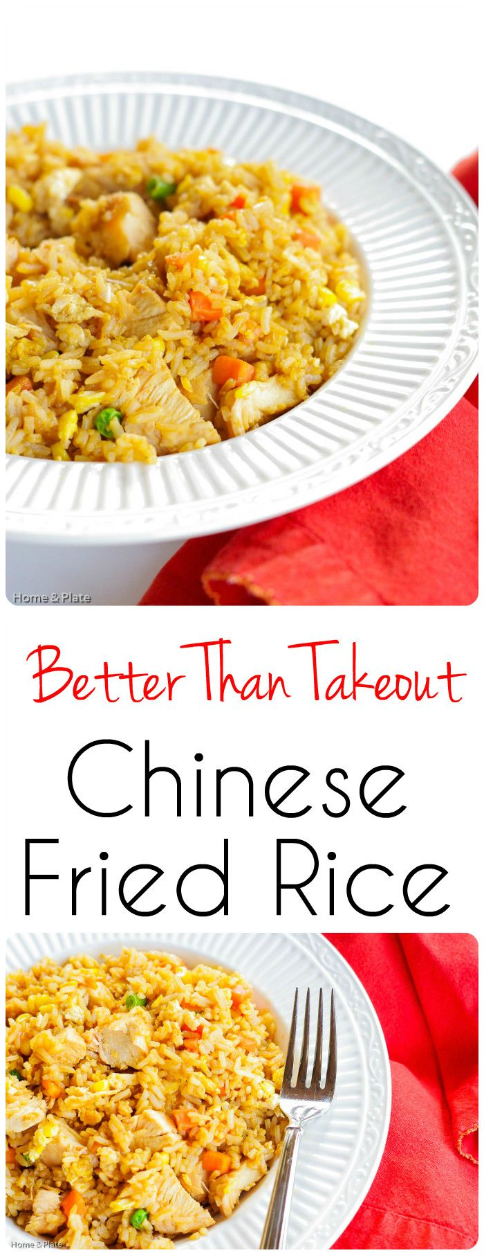 Better Than Takeout Chinese Fried Rice | Home & Plate | www.homeandplate.com | My Better Than Takeout Chinese Fried Rice recipe uses 5 simple ingredients in one dish that packs protein and veggie goodness all in one.