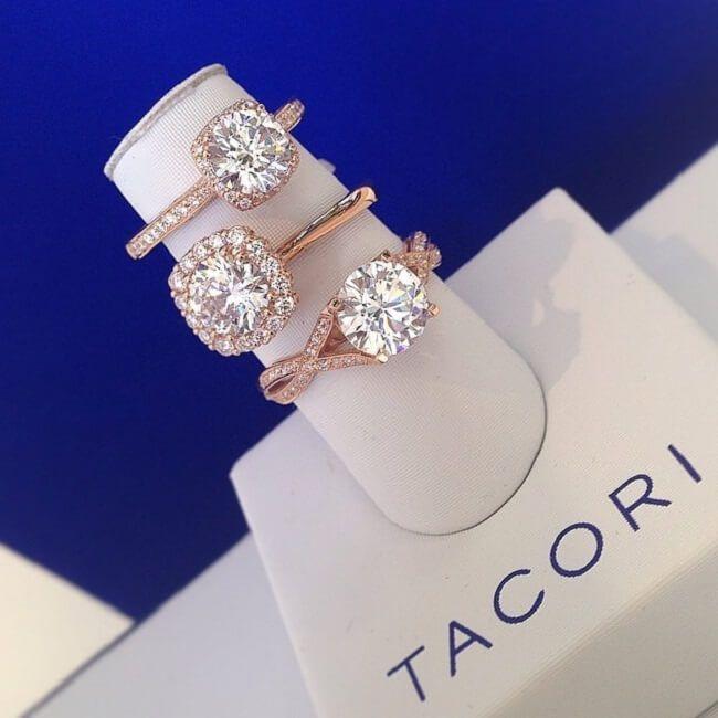 rose gold engagement rings tacori