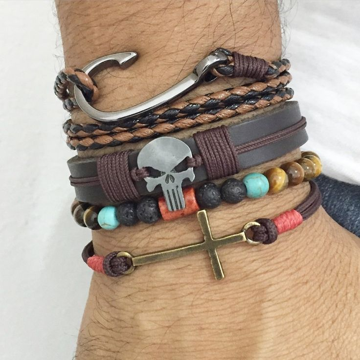 Kit pulseiras masculinas mens bracelets leather olho tigre tiger eyer skull punisher Justiceiro Caveira anzol navy pulseira masculina cocar Brasil