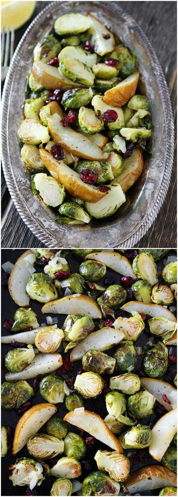 Roasted Pear and Cranberry Brussels Sprouts Recipe on http://twopeasandtheirpod.com These are the BEST Brussels Sprouts and the perfect side dish to any meal!