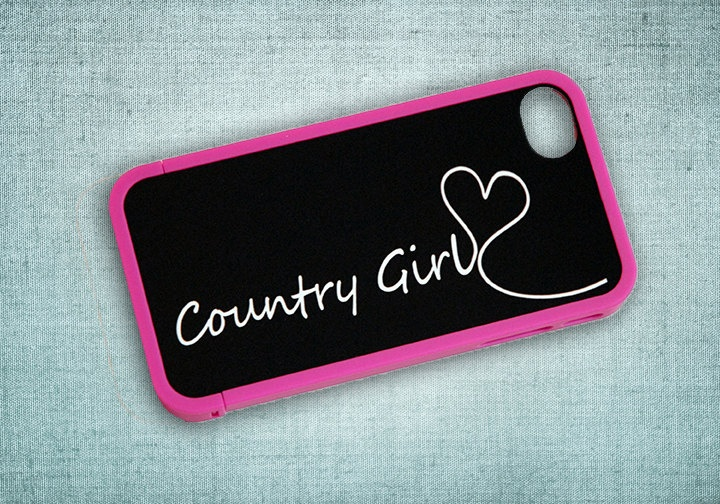 Country Girl Black and White Monogram Custom Insert with Hot Pink Bumper Case for iPhone 4 or 4s - unique, your name, initial, hearts. $22.50, via Etsy.