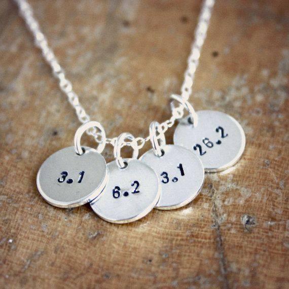 Small sterling silver running necklace  3.1 6.2 13.1 by JustJaynes, $46.00 - another way to work toward a goal