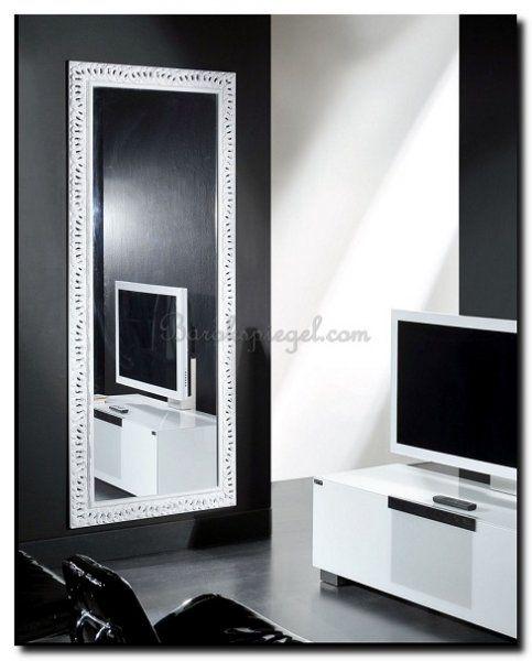 moderne spiegel wit op zwarte muur http://www.barokspiegel.com/detail/4451737-9-1941f0001-4-b-spiegel-paola
