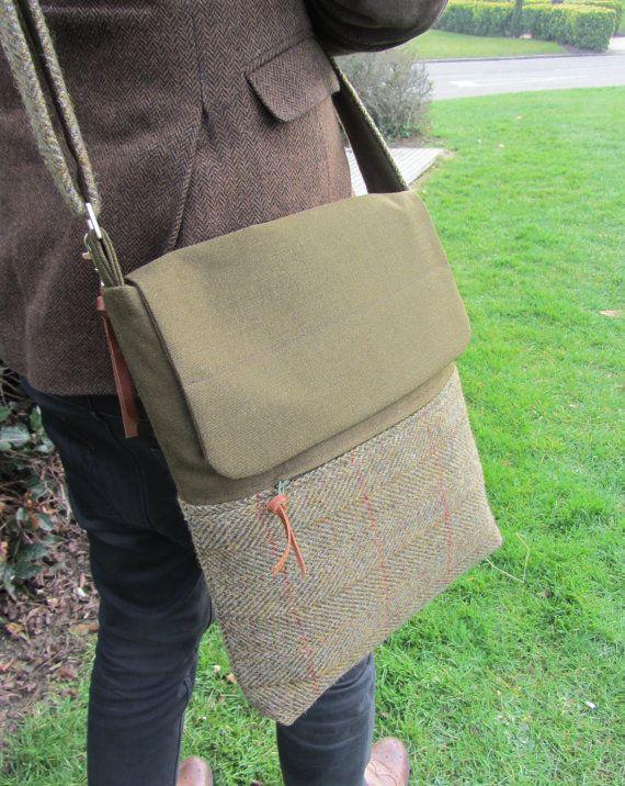 Mens Harris Tweed Messenger Bag by FlaxandLoom on Etsy