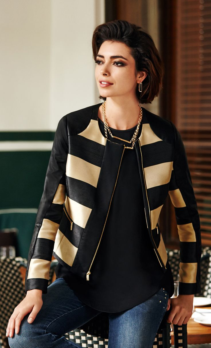 The Statement Jacket. Go for the gold in sporty stripes.