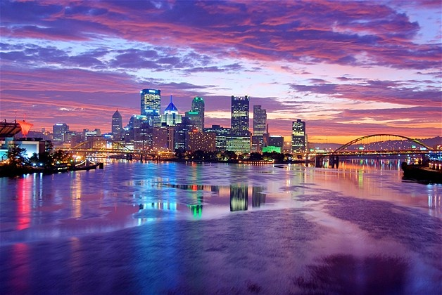 Pittsburgh skyline at sunset. Makes me miss my old home town.