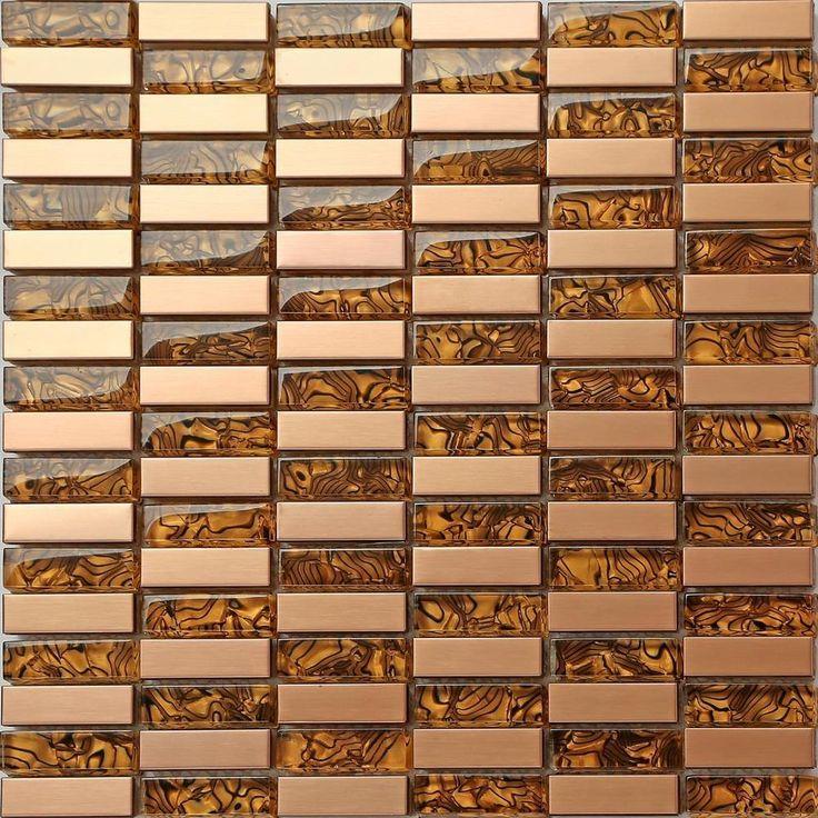 Metallic Random Mix Brushed Steel Gold Bronze Brass Glass Mosaic Tiles (MT0104) in Home, Furniture & DIY, DIY Materials, Flooring & Tiles | eBay
