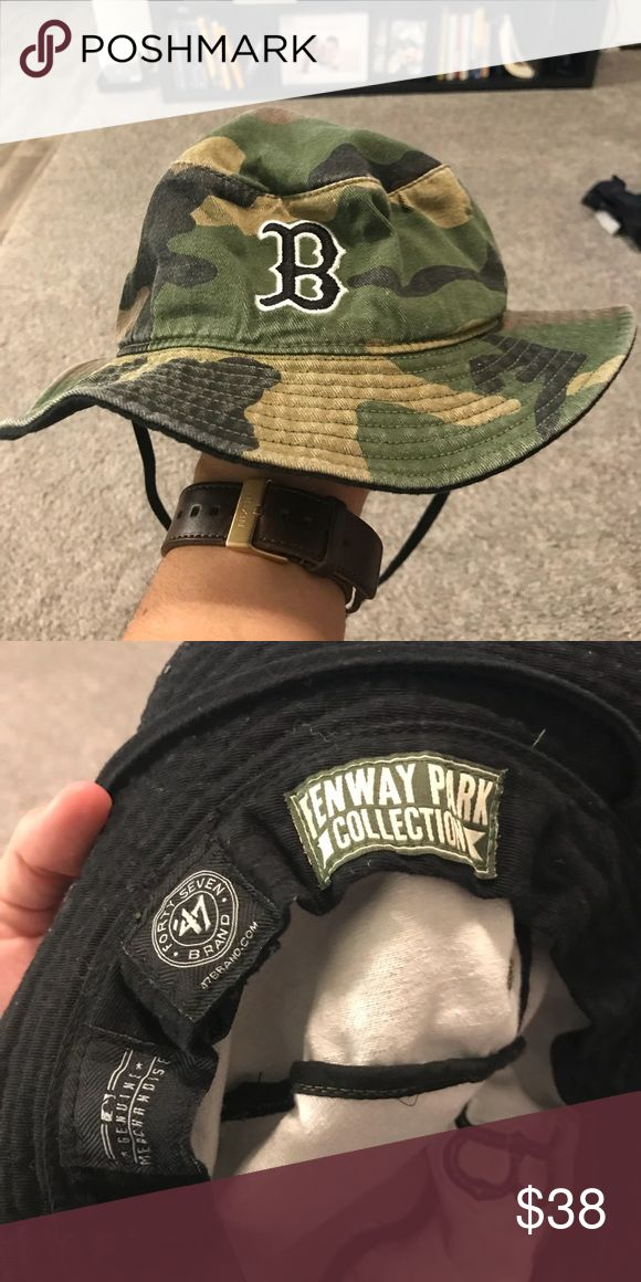 RARE BOSTON RED SOX CAMO BUCKET HAT❗️❗️ Bought this at some vintage shop where I met Mark Whalberg at the same time. Super rare.  TAGS- NIKE, ADIDAS, SUPREME, BASEBALL, MLB, HYPEBEAST Accessories Hats