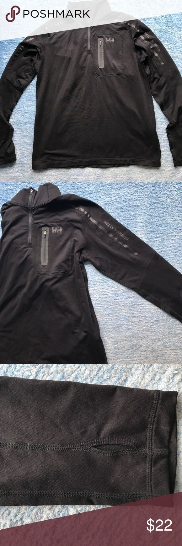 Men's Helly Hansen Quarter Zip Men's Helly Hansen Quarter Zip. Perfect for outdoors sports and colder days/nights! Has small pocket with zipper on chest and thumb holes on sleeves. Helly Hansen Jackets & Coats Ski & Snowboard