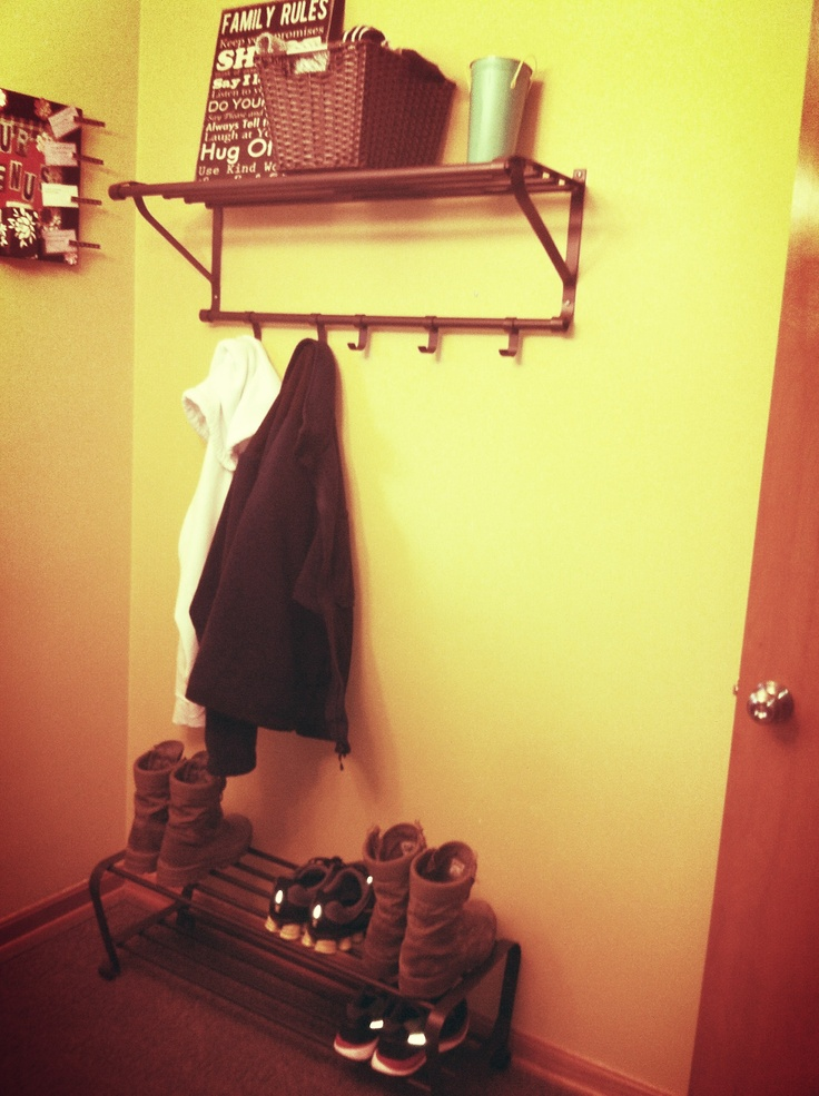 """Ikea Portis shoe rack and wall shelf: perfect for a small """"mud room"""" space"""
