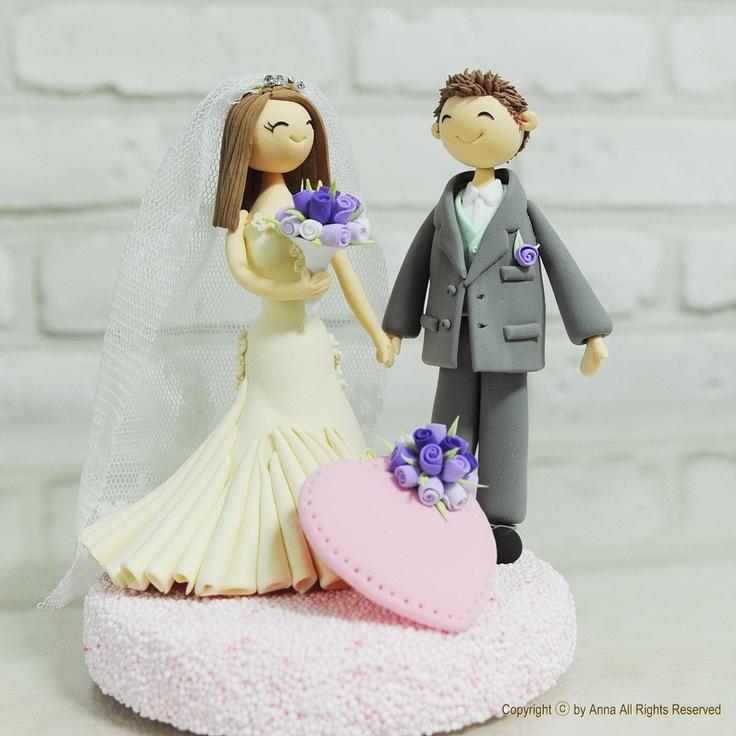Holding hands couple custom wedding cake topper
