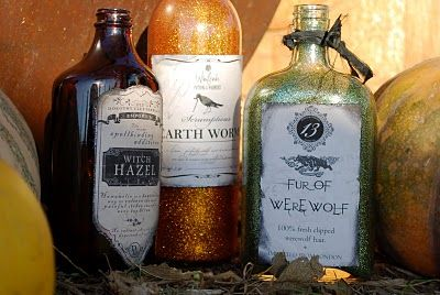 #decorations: Sparkly Bottle, Old Liquor Bottle, Halloween Bottle, Halloween Potions, Holidays Decor, Fleas Marketing, Cricky Corner, Halloween Ideas, Cricki Corner