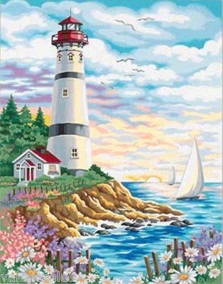 Dimensions #paintbynumber Lighthouse At Sunrise #DIY #crafts #decor