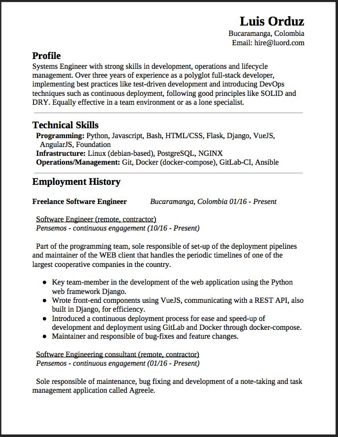 Freelance Software Engineer Resume This is a summary of my - chemical technician resume