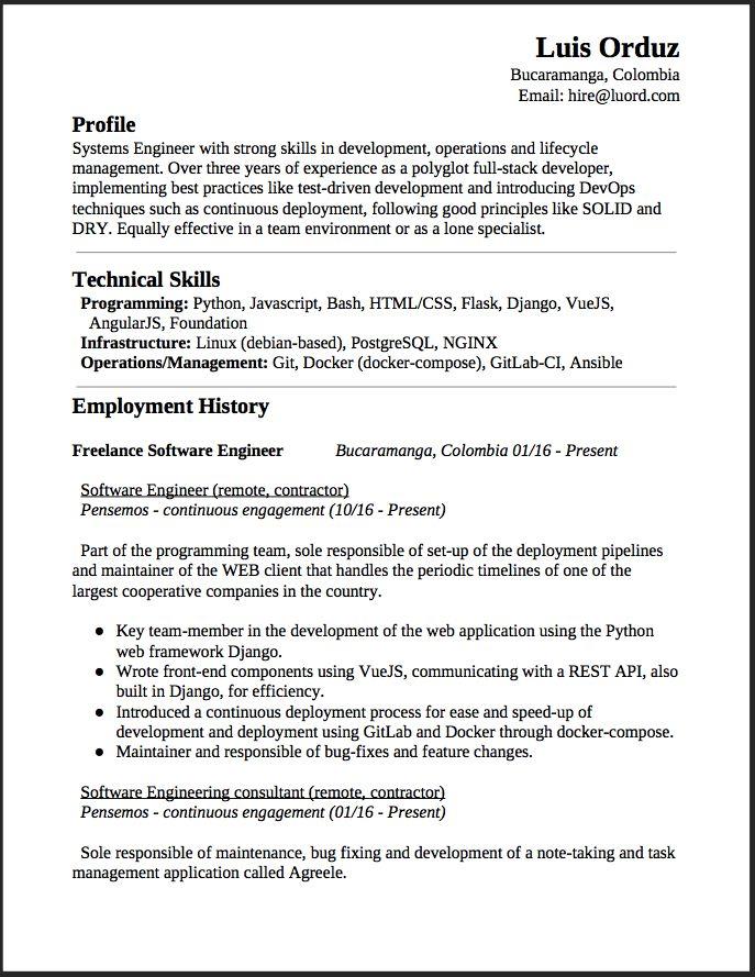 resume for freelance software developer sample