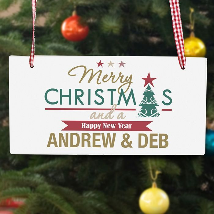Personalise this festive Sign with a name names up to 20 characters in length The words merry CHRISTMAS and a HAPPY NEW YEAR are fixed All