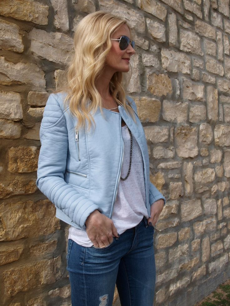 Baby blue faux leather jacket. Zara Blue leather jacket