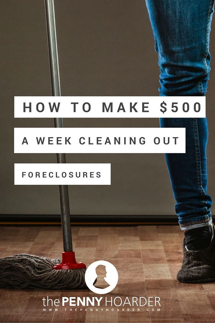 Foreclosed homes need a lot of TLC before they are ready for an open house. With a large inventory of bank-owned properties, there's a need to hire cleaners. - The Penny Hoarder http://www.thepennyhoarder.com/how-to-make-500week-cleaning-out-foreclosures/ make extra money at home, make extra money in college