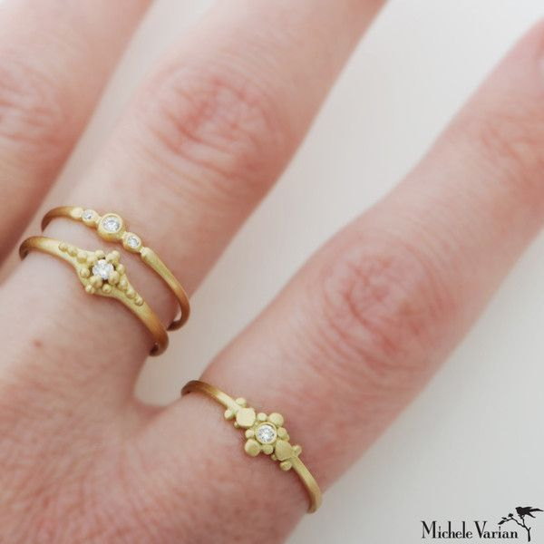 Michele Varian Shop - Tiny Gold and Diamond Ring - $550